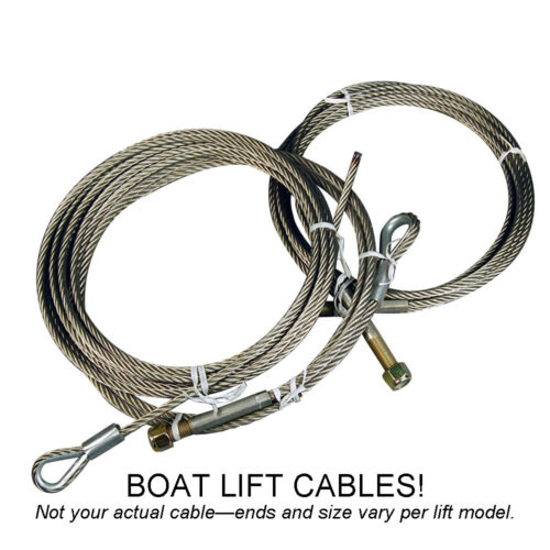 "Boat Lift Cable 3/8"" x 306"" 1 Stud, 1 Tinned End"