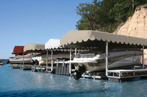 """Hewitt Boat Lift Canopy Cover 18' x 100"""" Flat Front Shelter-Rite"""